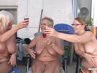 Grown-up short haired MILF babes win facials in an outdoor orgy