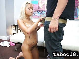All lubed shorn blonde complain Marsha May teases dude with lap dance increased by blowjob