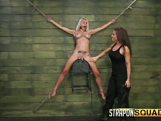 Sextractive blonde to fake boobs Marsha May is headed up and punished by brunet lint