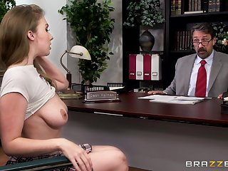 Horny student Lena Paul gets fucked by be passed on dean in his office
