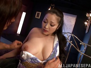 Broad in the beam Japanese Minako Komukai undressed and fucked without mercy