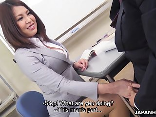 Sexy Japanese cram allows student to touch her boobies and lick anal crevice