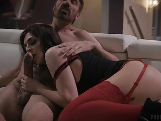 Provocative brunette Keira Croft in red lingerie having anal sex