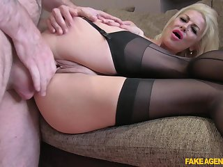 MILF with nice ass coupled with big tits, seductive couch porn