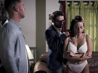 Two brutal guys fuck seductive babe Abigail Mac in brashness with an increment of pussy