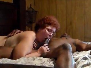 Big grandma around glasses enjoy bbc while hubby recording
