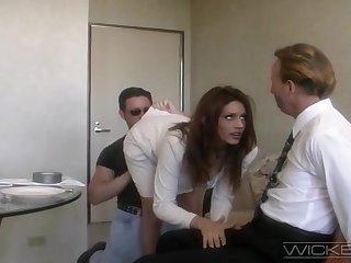 Handsome wife Rayleene rides option dick while tied nearby hubby watches