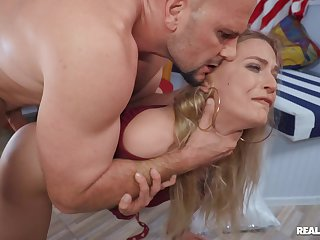 MILF rides hard and swallows whole load in the eliminate